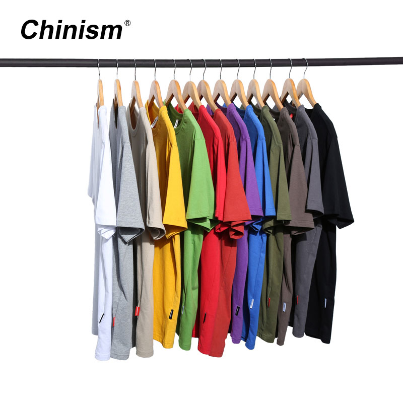CHINISM עבה כותנה בסיסית T חולצה גברים Loose מוצק צבע Streetwear מקרית למעלה טי נוח 100% מסורק כותנה בתוספת גודל