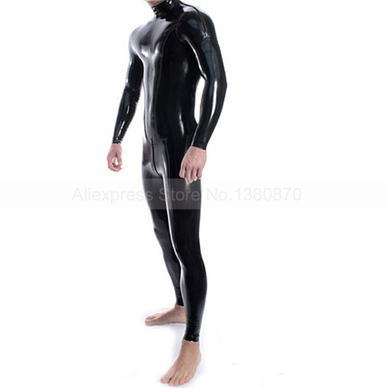 Solid Black Latex Man Catsuit with Shlouder Zips Rubber Latex Zentai Bodysuit S LCM048