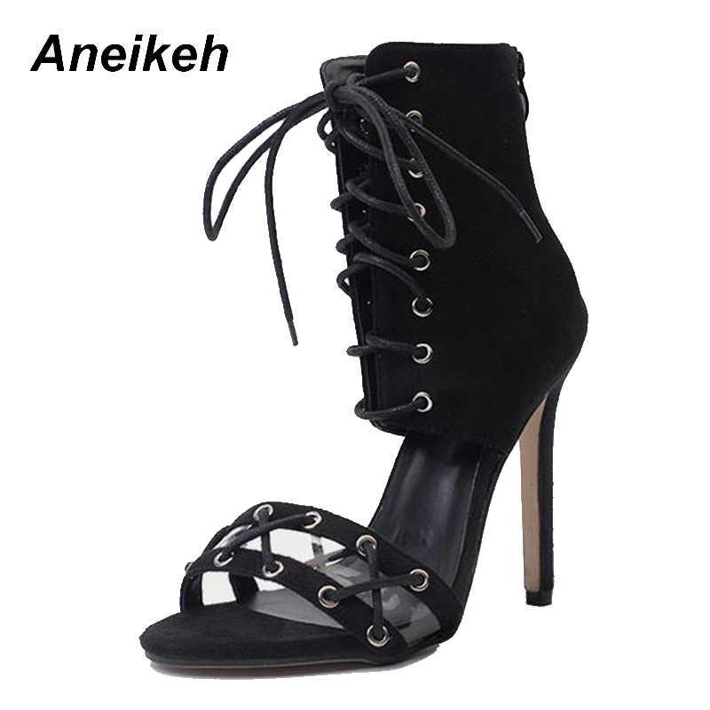 ... Aneikeh 2018 Hot New Sexy Nightclub Women Hollow Cross Tied Flock  Ankle-Wrap Heel Sandals ... 18d15fa1f255