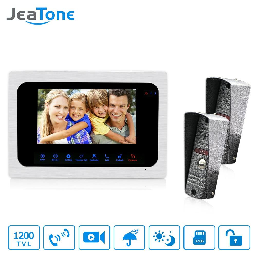 JeaTone Ringbell 7 дюймов видео звонок Домофон монитор HD 1200TVL Ночное видение Камера фото и видео Запись