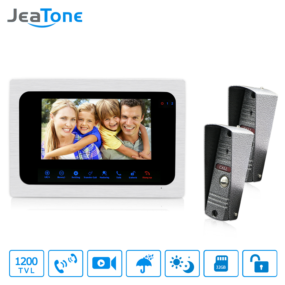 JeaTone Ringbell 7 Inch Video Doorbell Intercom Door Phone Monitor HD 1200TVL Night Vision Camera Picture Video Recording jeatone 4 inch color screen display monitor picture and video record video door phone intercom hd doorbell camera night vision
