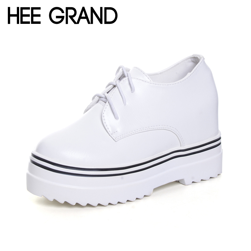 HEE GRAND Camouflage Creepers 2017 Lace up Platform Shoes Woman Wedges Loafers Slip On Flats Casual Fahsion Woman Shoes XWD6038 hee grand 2017 platform loafers slip on ballet flats pinted toe shoes woman comfortable creepers casual women flat shoes xwd4879