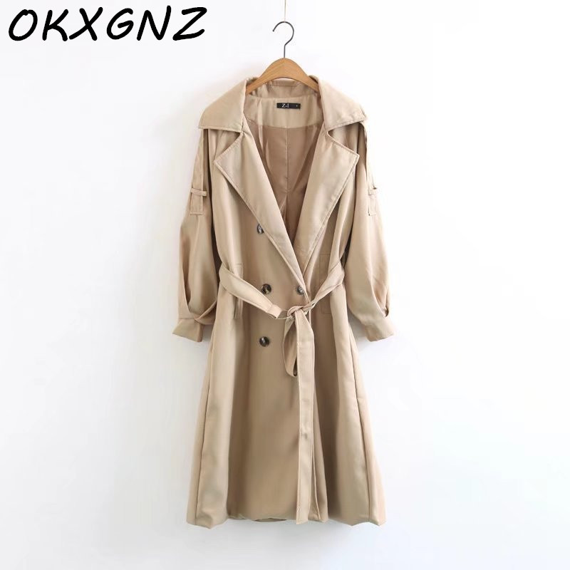 2019 Autumn New Women Casual Long   Trench   Coat Female Doube Breasted   Trench   Sashes England Style Turn-down Collar Outerwear R907