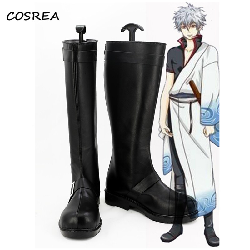 New Arrival Anime Gintama Sakata Gintoki Shoes Cosplay Costumes Adult Unisex Halloween Party Props Black Boots Custom-made Pants