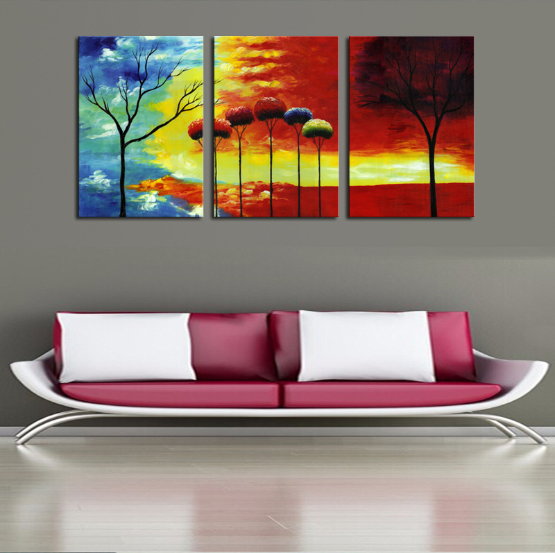 2016 New Sale Fallout Unframed 3 Pieces Colorful Sky Trees Modern Home Wall Decor Canvas Art Picture Print Painting On Artworks