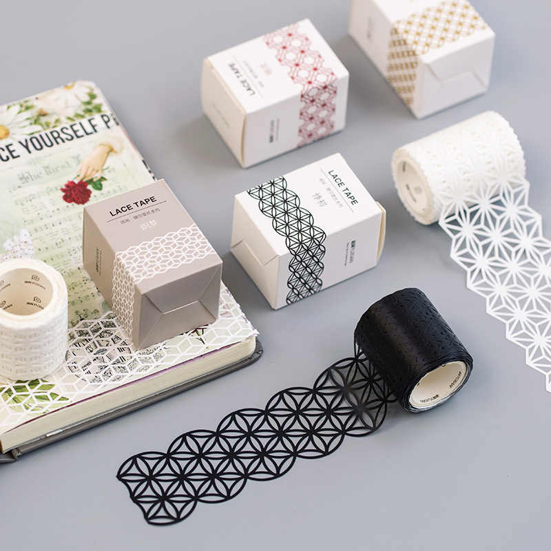 4-5 Cm * 5 M Hollow Kerawang Renda Washi Tape DIY Dekorasi Scrapbooking Perencana Masking Tape Pita Perekat kawaii Stationery