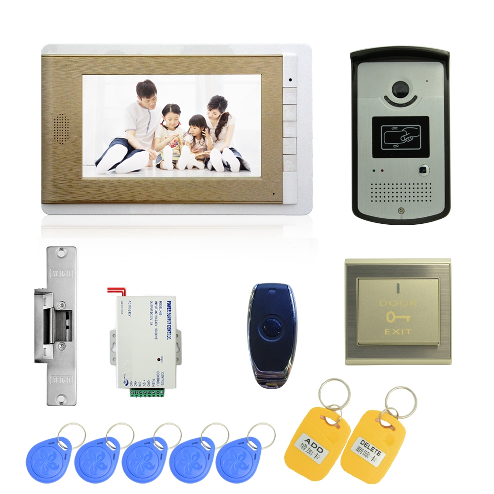 (1 Set) Video Door Phone Door Bell Intercom Color Monitor Access Control Exit Button Remote Unlock RFID Key For Free Shipping