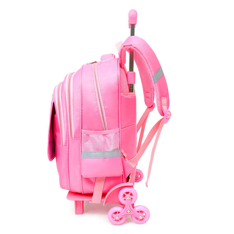 Wodoodporny wózek plecaki szkolne dziewczyny dla dzieci torby szkolne dla dzieci koła księżniczka plecaki dla dzieci wózek do przewijania torby szkolne