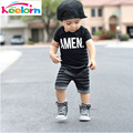 Keelorn Kids Baby Clothing Sets 2017 New Summer Style Black Letter Short T-shirt+Striped Pants 2pcs Children Clothes  suits
