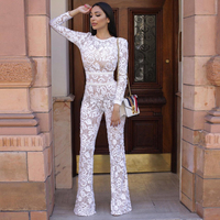 New Designer Lace Bandage Jumpsuits Women Sexy O Neck Party Runway Hollow Out Women Full Length White Bandage Belt Jumpsuits