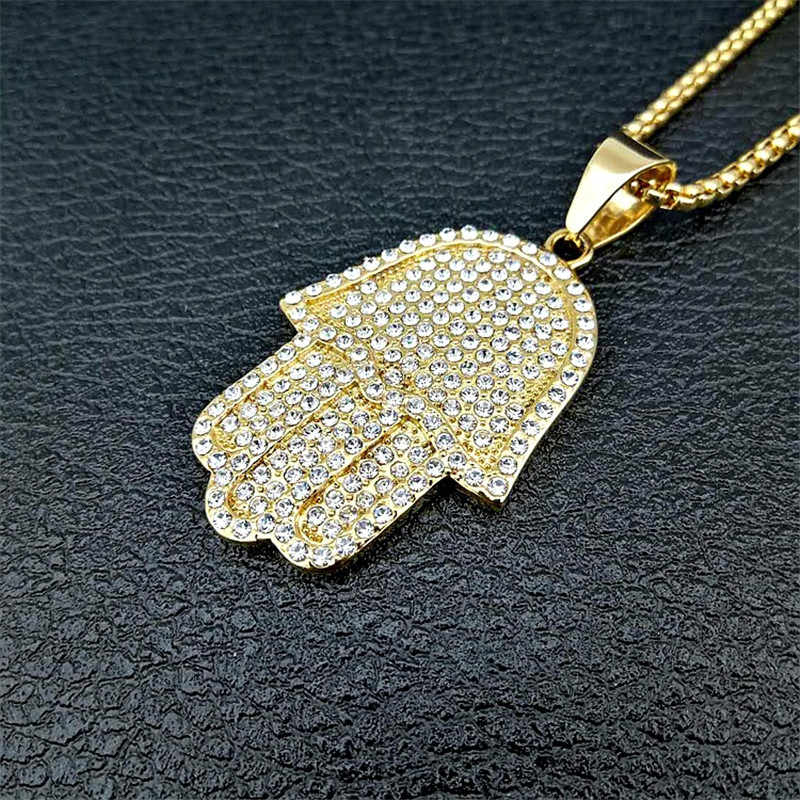 Hamsa Hand Necklace for Women Collares Ethnic Necklace Gold Color Iced Out Bling Hand of Fatima Pendant Necklaces 4 Size Collier