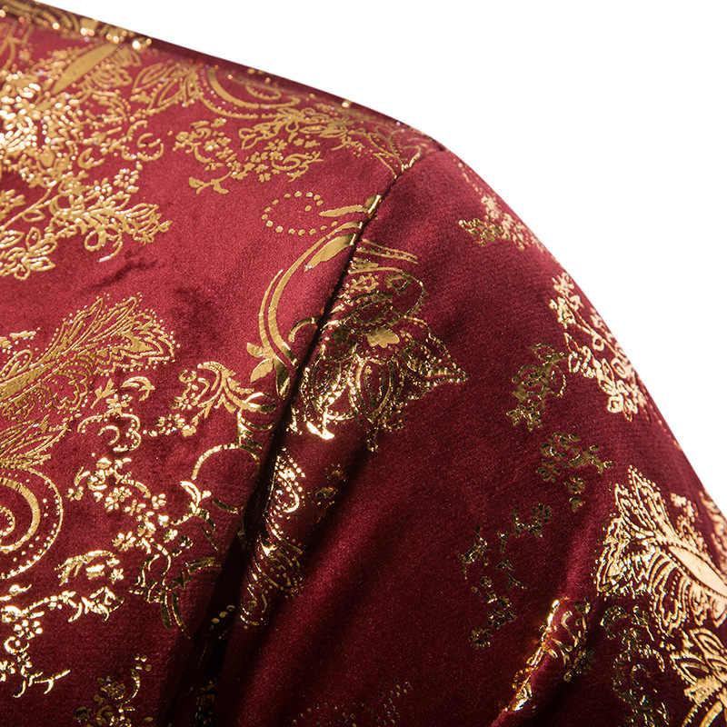 Мужской двубортный смокинг-пиджак с золотыми Пейсли тонкий фрак сценический для певца Выпускные платья костюм Homme Свадебный костюм жениха куртка