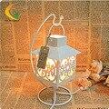 Voz do quarto dimmer lâmpada de cabeceira de iluminação da lâmpada incandescente Nightlight criativo Marrocos oco ferro lâmpadas de sal
