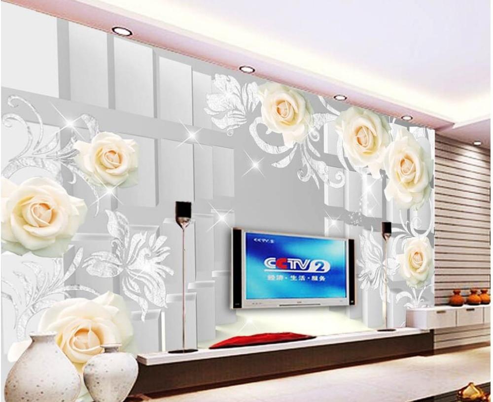 modern living room wallpapers Rose 3D stereo wall flower wallpaper ...