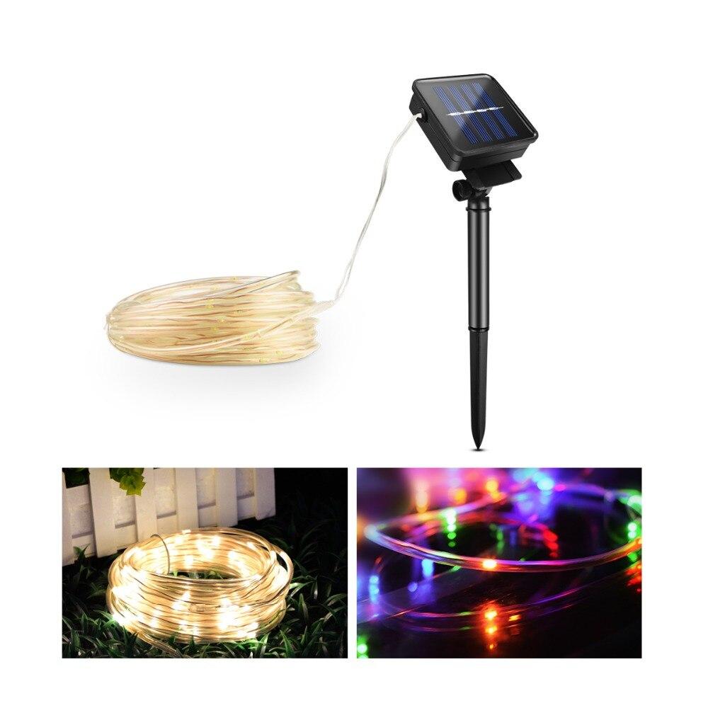 10 Mt Solar Led String Neueste Robust Kupfer Draht Mit Schützen Schlauch Solar Lampen Wasserdicht Garten Weihnachten Dekoration Fee Lichter Jade Weiß