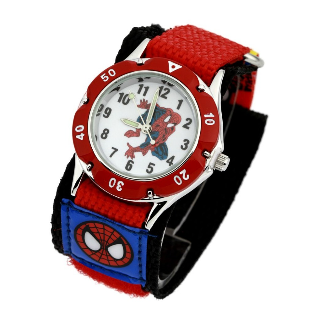 2017 cartoon spiderman watches fashion children boys kids students spider man nylon sports for Spiderman watches