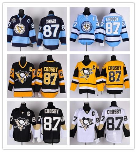 ca93d03faf2 Cheap Pittsburgh Penguins Jerseys #87 Sidney Crosby Jersey Black White  Alternate Gold Sidney Crosby Hockey Jerseys With C Patch