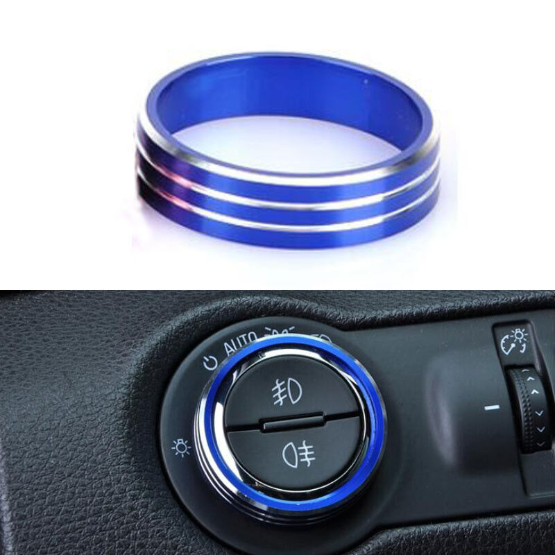 BBQ@FUKA Blue Red Gold Decorative Head Light Switch Button Cover Ring Trim Frame For Chevrolet Cruze 2009-2016