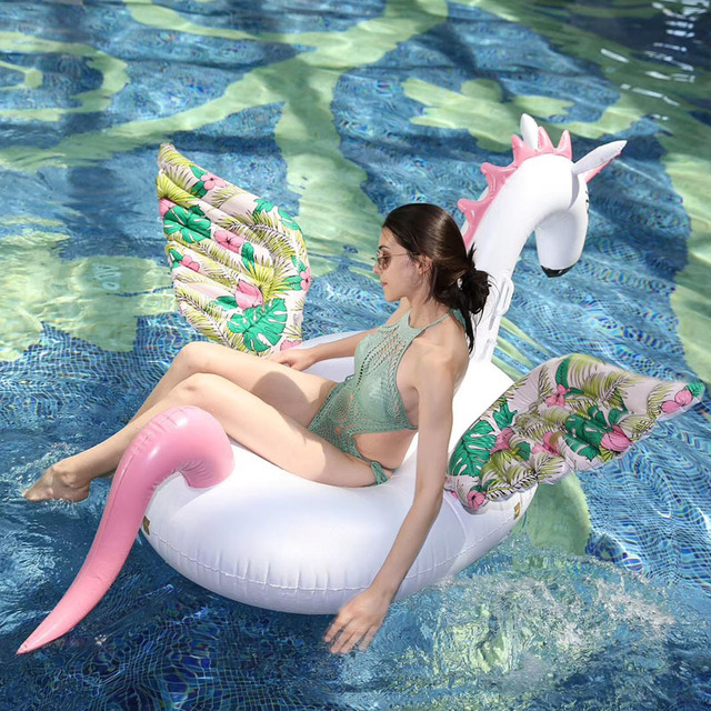 200CM Giant Inflatable Pegasus Horse Pool Float Ride-On Floral Print Unicorn Swimming Ring Holiday Party Water Toys Boia Piscina