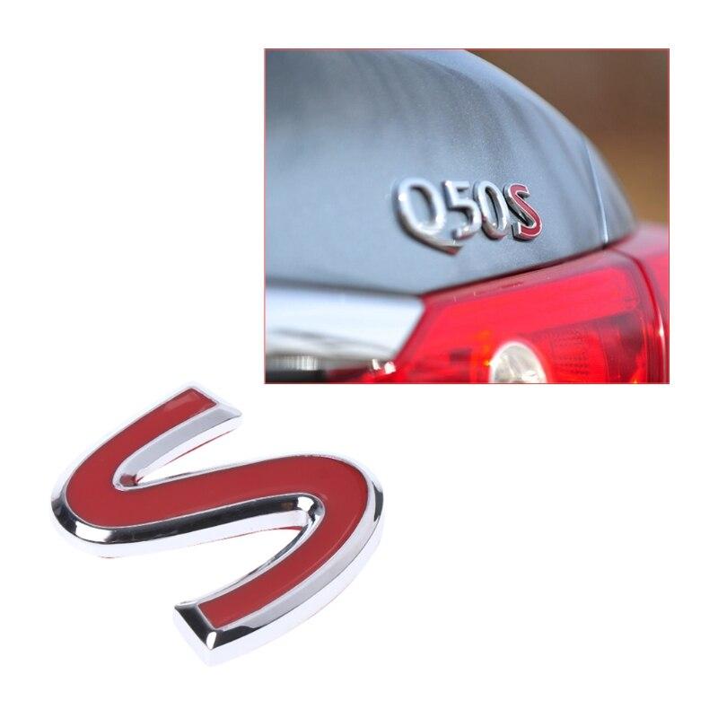 Chrome Metal JDM S Logo Badge Car Rear Trunk Decor Embelm Decal For Infiniti-Red