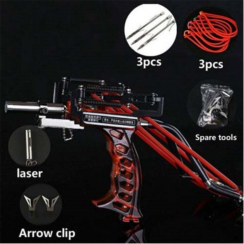 Powerful Hunting Fishing Laser Slingshot stainless steel  slingshot professional Catapult Strong Sling Shot with rubber band(China)