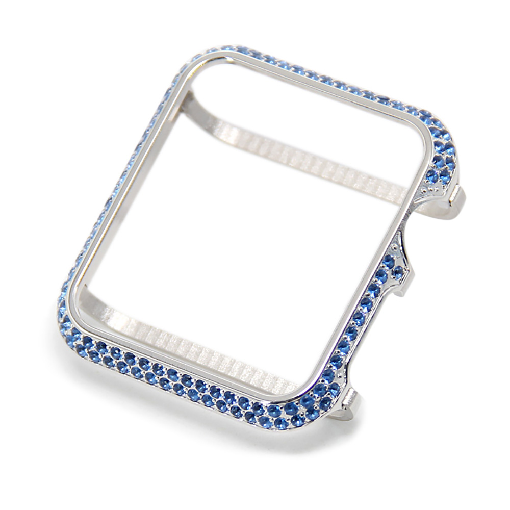 platinum case with blue crystal bezel cover for Apple Watch cover 38mm 42mm fashion crystals cases  free shippingplatinum case with blue crystal bezel cover for Apple Watch cover 38mm 42mm fashion crystals cases  free shipping