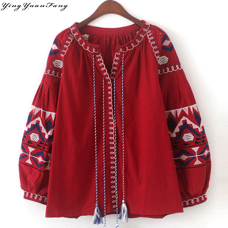 YingYuanFang New fashion Cotton and Lineno-neck collar floral embroidery long puff sleeve tassel women's shirt
