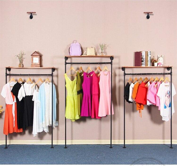 1pcs vintage clothing store shelf floor coat rack hangers - Percheros pared vintage ...