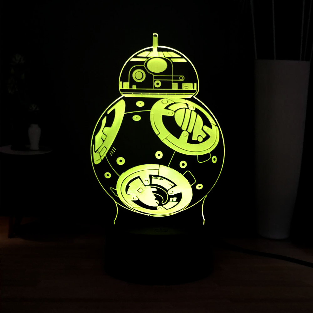 New Acrylic Illusion Star Wars Robots BB8 RGB 7 Color Change Novel LED USB Decoration Bedside Table Mood Light Kids Holiday Gift image