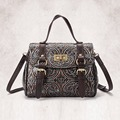 New Trend Women Genuine Leather Single Shoulder Bag Small Vintage Cross Body Messenger Bags Embossed Pattern Design Tote Handbag