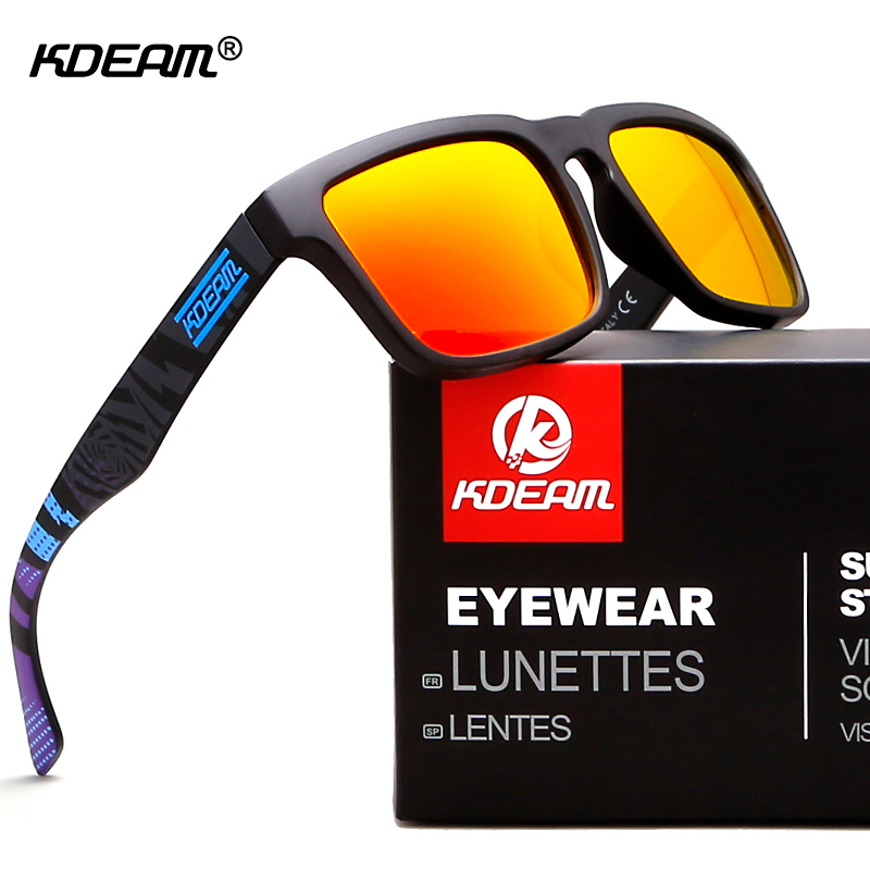 Kdeam Happy HD Lense Polarized Sunglasses Men Glasses Driving Fashion Square Sunglass Women With Brand Box