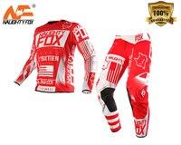NAUGHTY FOX 360 Czerwony Flight GP Pant/Jersey MX Motocross OffRoad Atv WYŚCIGOWYCH Sportowe JERSEY