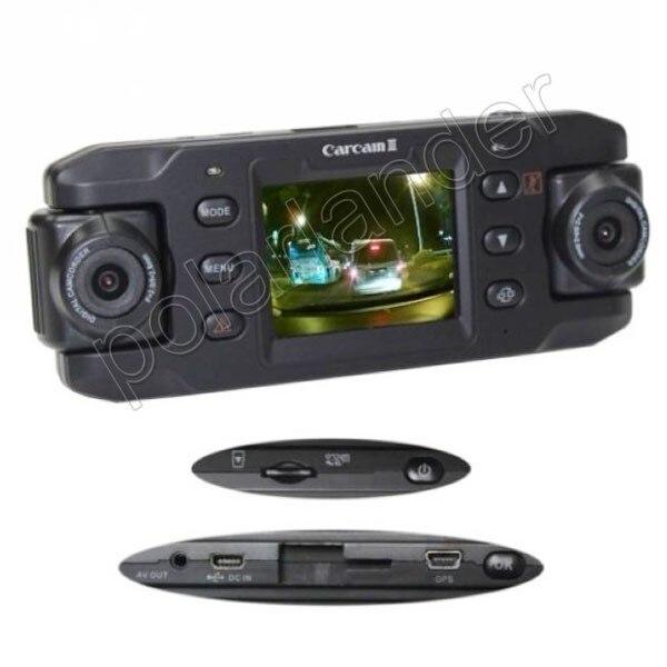 HD 140 degree wide angle dual lens Car DVR GPS logger 2.3 inch G-sensor vehicle camera video recoder camcorder