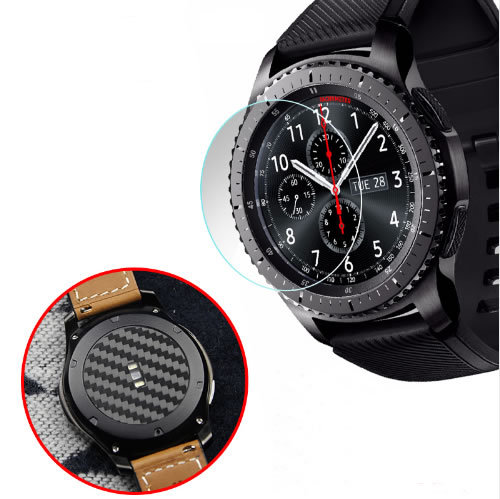 2 set Carbon Fiber Watch Back Protector Film+Tempered Film Protetor Watch Screen For Samsung Galaxy Watch 46mm 42mm Gear S3 22mm