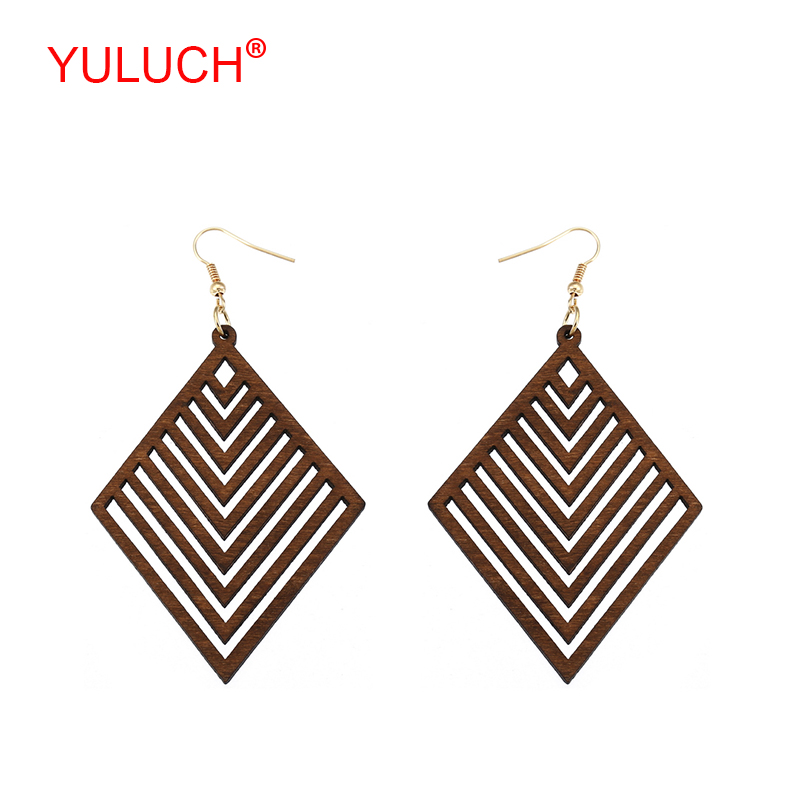 YULUCH Vintage Ethnic Woman Jewelry Earrings Natural Handmade Wooden Geometric Rhombus Hollow out Regular Stripe Accessories