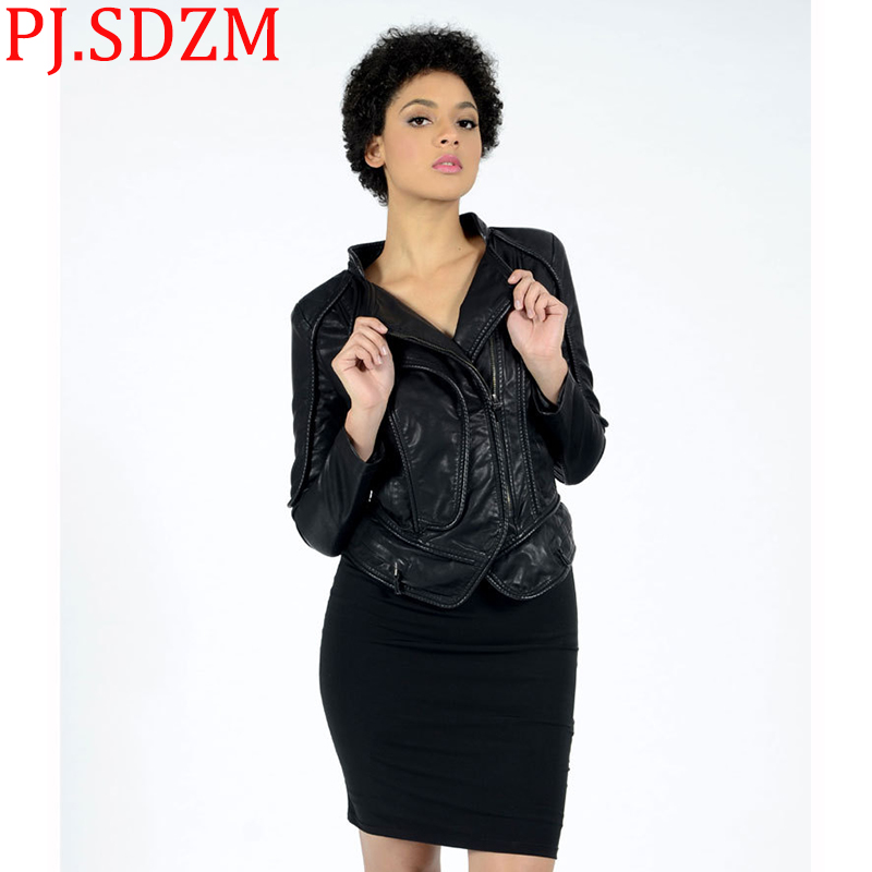 Korea Women Europe Faux   Leather   Jackets Solid Black Locomotives Rivet Slim Coats Female Small Collar Coat Short PU Fur Clothing