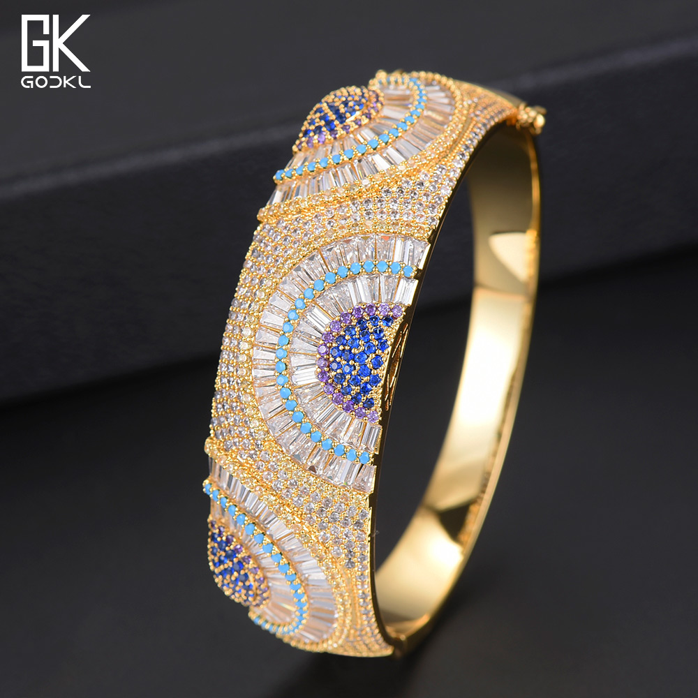 GODKI Luxury AAA Cubic Zirconia Bracelets Bangles Vintage Indian Bangle Bohemian Cuff Bracelets For Women Femme Fashion Jewelry