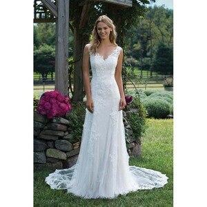 Image 2 - Fansmile New Vestido De Noiva White Lace Mermaid Wedding Dress 2020 Train Plus Size Customized Wedding Gown Bride Dress FSM 466M