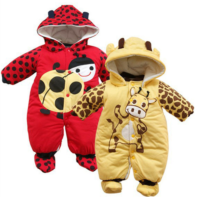 2016 Animal Style Hooded Baby Romper Autumn Boys Girls Clothes Outfits Long Sleeve Thicken Cotton Newborn Clothing Baby Overalls baby rompers 2016 spring autumn style overalls star printing cotton newborn baby boys girls clothes long sleeve hooded outfits