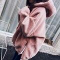 Inverno Coreano rosa com capuz de veludo grosso plus size mulheres camisola hedging solto fofo de pelúcia quente ocasional fora topos de desgaste MZ1293