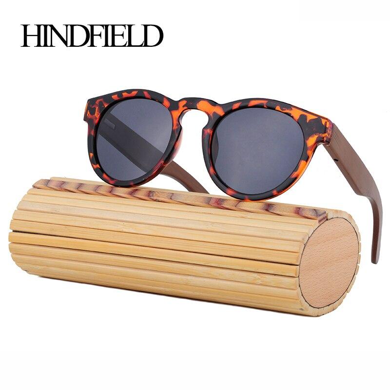 HINDFIELD Fashion Round Bamboo Sunglasses Women Brand Design Retro Vintage Original Wood Sun Glasses Men Oculos de sol mascul