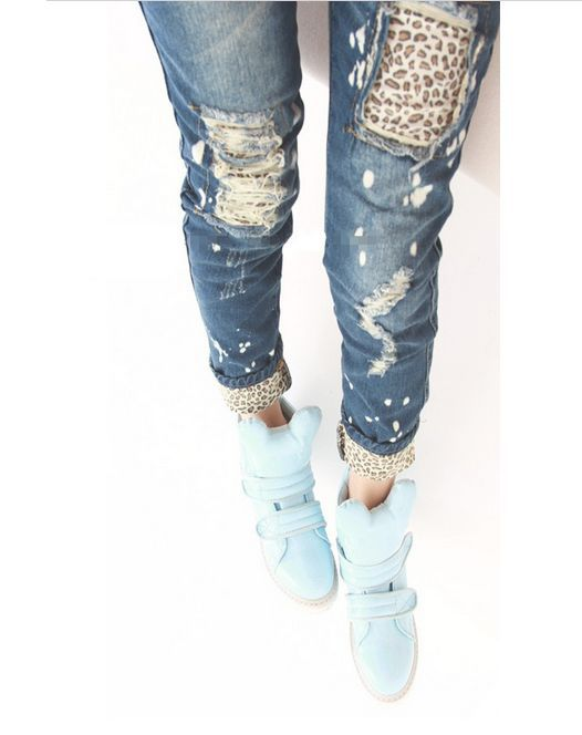 New 2016 Female leopard print wearing white retro finishing hole butt-lifting pencil   jeans   roll up hem