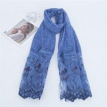 Новая весенняя плотная вышивать кружевная Цветочная Лоскутная шарф из вискозного шелка Для женщин мода негабаритных головные платки и палантины пашмины фу