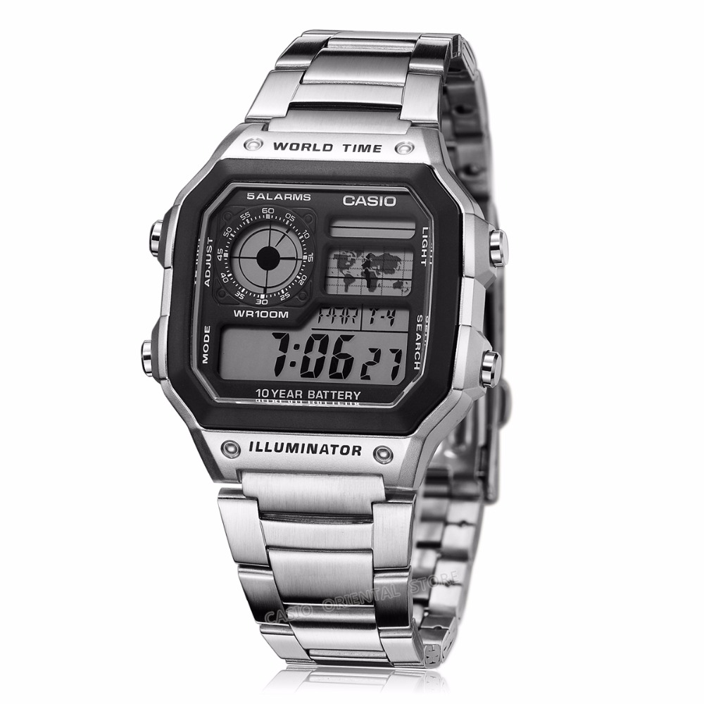 ffbb8e26188c Casio Watches top brand luxury Men Sports AE 1200WHD 1A digital Waterproof  Complete Calendar Alarm stainless steel band Relogio-in Digital Watches  from ...