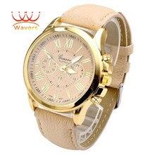 Wavors Marca Números Romanos Dial Grande de Lujo de la Marca Mujeres Reloj de Cuero Horas de Cuarzo Analógico Relojes de Pulsera