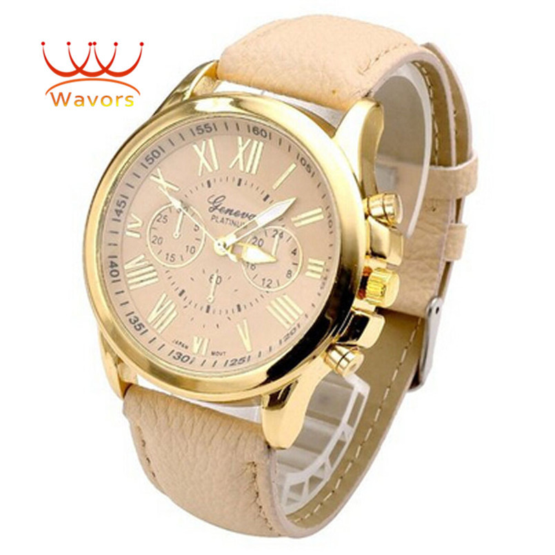 Wavors luxury brand women watch leather brand roman numerals big dial hour analog quartz wrist watches