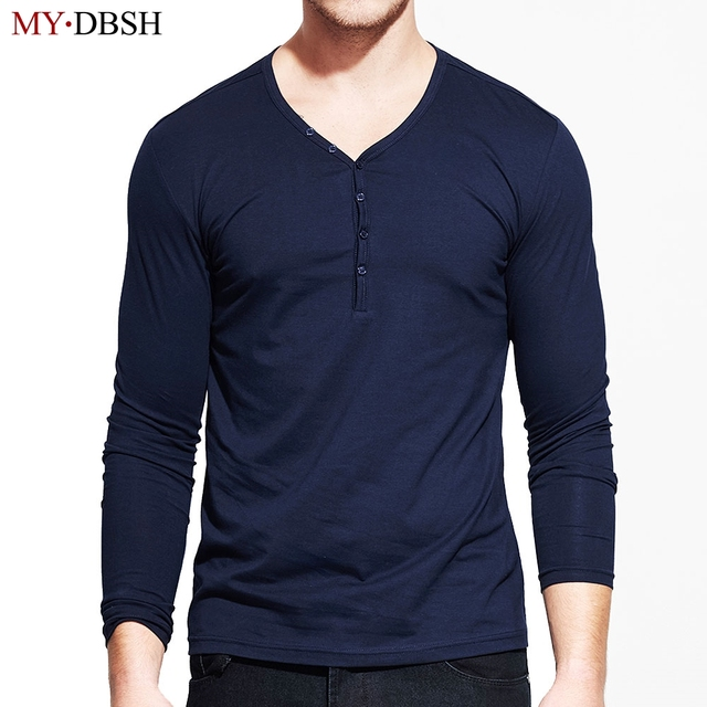 New popular design men henry collar tshirt 2018 fashion for Long sleeve t shirts with collar