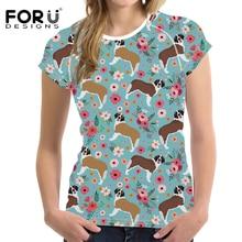 FORUDESIGNS Harajuku T Shirt Women Cartoon St. Bernard Printed T-shirt Female Flower Pattern Fashion Tee Shirt for Teen Girls цена