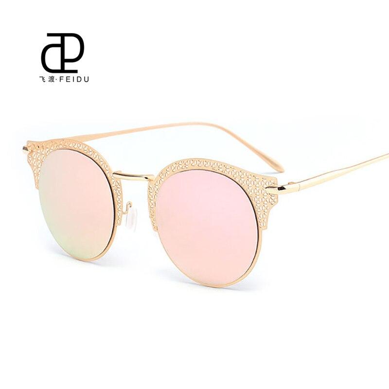 Feidu 2016 novas mulheres venda quente Sunglasses piercing revestimento De  espelho De moda óculos De Sol Super Popular templos De Metal Oculos De Sol ee78057aca