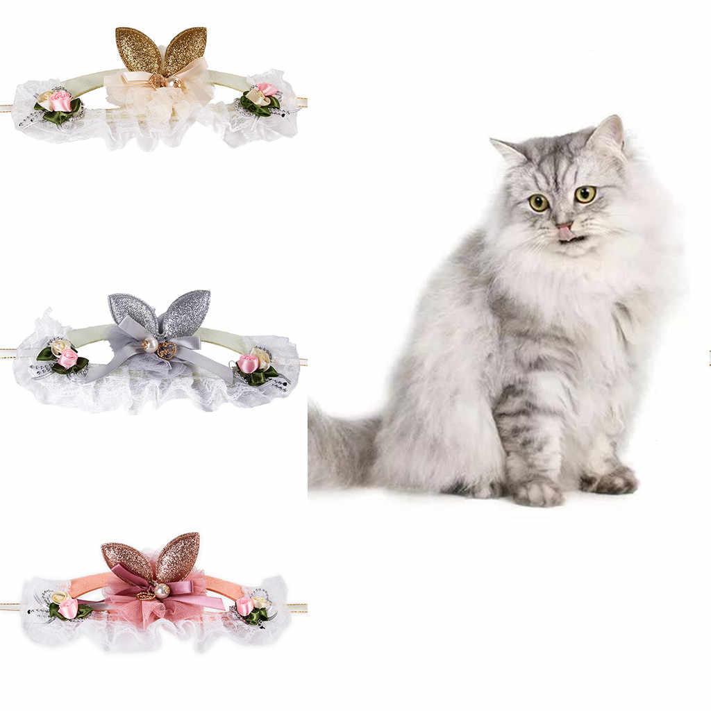 Coleira de Cachorro Trsnser Prata Pet Gato Coleiras Cães Orelhas de Coelho Fivela Quadrada Bowknot Headwear Arnês 19Mer27 P40